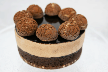 Chocolate cake with salted caramel profiteroles